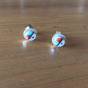 Vintage Zuni Sun Face Sterling Stud Earrings